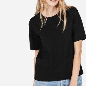 EVERLANE The Ponte Short Sleeve Black Top Pockets